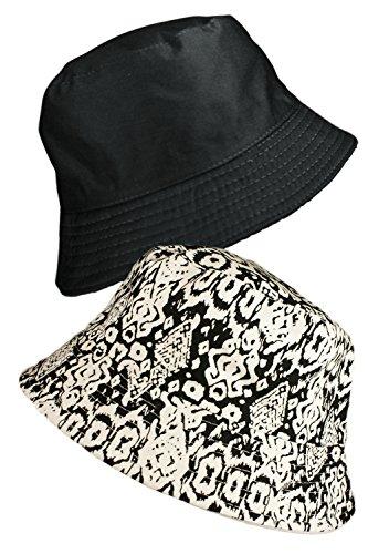 ecb084e8d0c TOSKATOK® LADIES WOMENS REVERSIBLE COTTON BATIK BUSH BUCKET SUN HAT-BLKBLK
