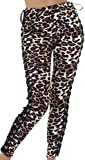 Jela London Damen Kunstleder Hose Stretch Wetlook Leggings Treggings Biker Clubwear Schnürung Bänder bindbar High Waist Hoher Bund Glanz, Leopard Leo-Look, 38 40 (L)