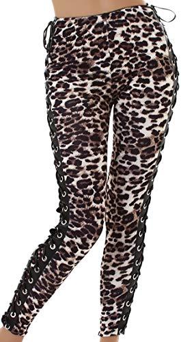 Jela London Damen Kunstleder Hose Stretch Wetlook Leggings Treggings Clubwear Schnürung Bänder High Waist Hoher Bund Glanz, Leopard Leo, 36 38 (M) - Hohen Glanz Glanz Glanz