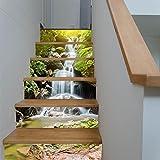 TIEZHI Créatif Élégant Rénovation à Domicile 3D DIY Chute d'eau Alpine Autocollants pour escaliers Imperméable Combinaison Fond d'écran Auto-adhésif HD Mural, 2 Set 12 pcs, 100 * 18cm