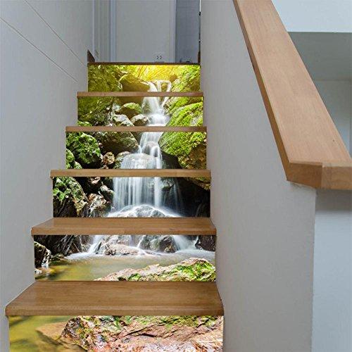 ant Haus Renovierung 3D DIY Alpiner Wasserfall Treppen Aufkleber Wasserdicht Kombination Tapete Selbstklebend HD Wandgemälde , 1 Set 6 pcs , 100*18cm (Hd Halloween Tapete)
