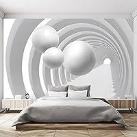 Papel Pintado 3D 366 x 254 cm Negro Blanco Túnel Tridimensional Arquitectura Esfera Profundidad Fotomurales
