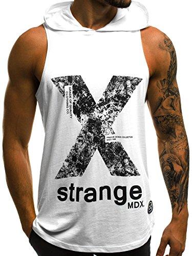 OZONEE Mix Herren Tanktop Tank Top Tankshirt T-Shirt Kapuze Unterhemden Ärmellos Muskelshirt Fitness O/2649 Weiß L (Weißes Ärmelloses Shirt Tank-top)