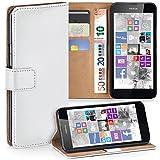 moex Nokia Lumia 630 | Hülle Weiß mit Karten-Fach 360° Book Klapp-Hülle Handytasche Kunst-Leder Handyhülle für Nokia Lumia 630/635 Dual SIM Case Flip Cover Schutzhülle Tasche