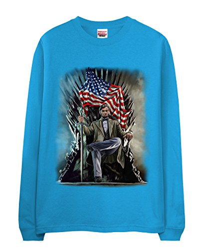 long-t-shirt-usa-president-abraham-lincoln-on-battle-throne-turquoise-x-large