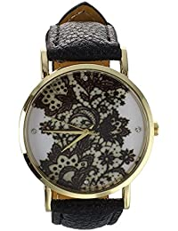 Geneva Women's Lace Printed Wrist Watch Black