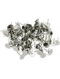 Ohrstecker-Rohlinge, versilbert, zum Basteln, 6 mm, 100 Stück
