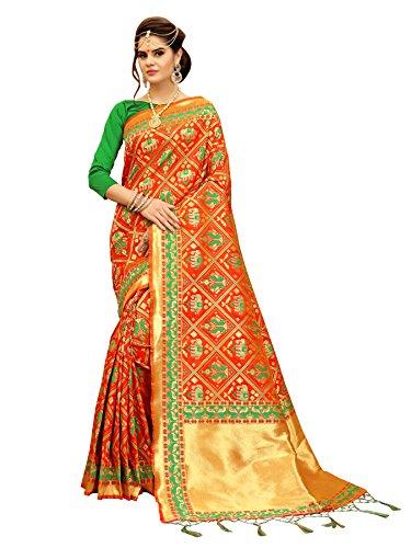 Orange And Green Banarasi Patola Style Saree