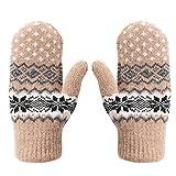 Handschuhe damen Fäustlinge Schneeflocke warm Winterhandschuhe weich Strick Strickhandschuhe mit Fleecefutter Zopfmuster dicke Damenhandschuhe Fahrradschuhe Gloves Laufen Outdoor Camping Fahrrad