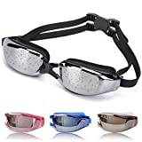 OYMI Swimming Goggles Anti Fog No Leaking Swim Glasses with Free Nose Clip & Earplugs for Men Women Youth Kid Child (Black)