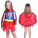 Anladia - Disfraz de Supergirl Cosplay Dress SuperMan para niña Talla S (90-100cm) entre 3 y 5 años / Talla M (110-120cm) entre 5 y 7 años (S)