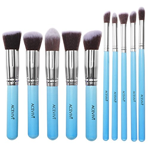ACEVIVI Professional 10pcs Premium Synthetic Kabuki Makeup Brush Set Foundation Blending Cosmetic Brushes Essential Kit