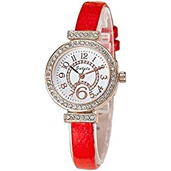 Fashion Rhinestones PU Strap Quartz Women Wrist Watch,Red