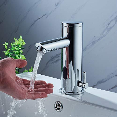 Badarmatur mit Infrarot Sensor YUNRUX Automatisch kalt heiß Waschbecken Wasserhahn Einhebel Mischbatterie Waschtisch Armatur Waschtischarmatur Einhandmischer Bad Faucet Wannen Armatur Badewanne -