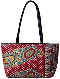 Kantha Quilted Cotton Hand Bag Cotton Women's Carry Bag Beach Bag By Handicraft-Palace