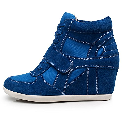 Rismart Ladies Scarpe Con Zeppa Casual Uncinetto Casual Fiocco In Pelle Scamosciata Blu Royal