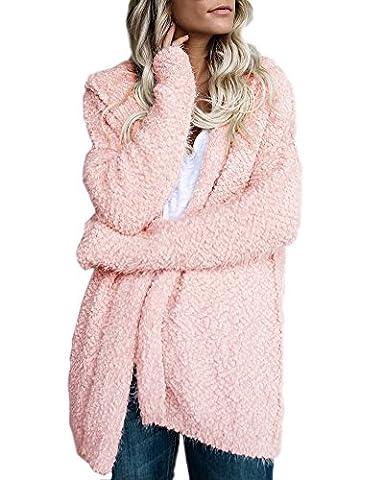 Minetom Femme Décontracté Manches Longues Tricoté Cardigan Ouvert Couleur Unie Manteau Mode Veste à Capuche Chandails Outwear Tops Rose FR 46
