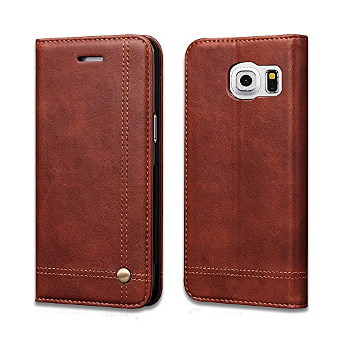 Swan Flip Cover for Samsung Galaxy S7 edge Flip Cover Magnet Series Leather Flip Cover for Samsung Galaxy S7 Edge Wallet Cases Book Cover Tpu Mobile Holder Mobile Stand Magnet Closure Brown