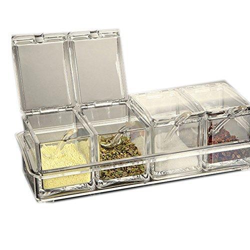SCFL Premium Qualität Klar Acryl Menage-Set Spice Box mit Löffel Würze Salz Pfeffer Spice Dosen Küche Zubehör, acryl, 1096S4-Clear, 10.04inches x 3.98inches x 2.95inches