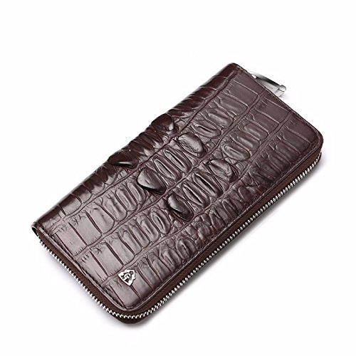 lpkone-Sac Homme motif peau de crocodile men's zip autour de portefeuille d'affaires Portefeuilles Sacs à main pour hommes Brown c