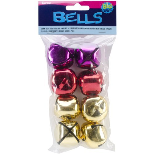 Jingle Bell - Pink/Gold/Red - 35mm - 8 pieces by Darice (Gold Jingle Bells)