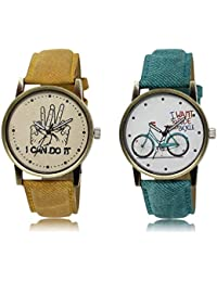 The Shopoholic Brown White Combo Stylist Designer Combo Pack 2 Brown And White Dial Analog Watch For Boys And...