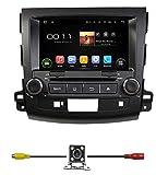 bluelotus 20,3cm Android 4.4.4voiture DVD GPS Navigation pour Mitsubishi Outlander 200720082009201020112012W/TV Radio Bluetooth, Wi-Fi intégré, SWC RDS SD/USB iPod AV Aux in + Carte libre de secours + Gratuit UE