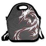 Dozili Cool Dragon Tribal-Lunchtasche aus Neopren mit Schulterriemen für Damen, Teenager, Mädchen, Kinder, Erwachsene