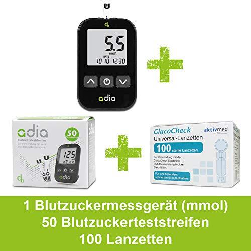 Adia Vorteilspack Blutzuckermessgerät-Set (mmol) + 50 Blutzuckerteststreifen + 100 Lanzetten zur Kontrolle des Blutzuckers