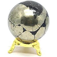 Preisvergleich für Healing Crystals India®: Natürliche goldfarbene Pyrit-Kugel Aura Heilung, 5,1 cm – 6,3 cm mit eBook über Kristalle...