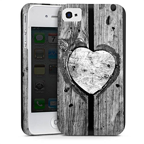 Apple iPhone 5 Housse Outdoor Étui militaire Coque Bois C½ur Saint-Valentin Cas Premium mat