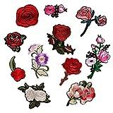 (11 Stück) Assorted Rose Flowers Collection bestickt Nähen Eisen auf Patches Appliques