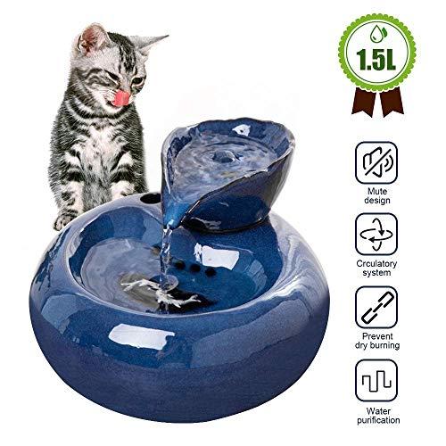 Trinkbrunnen für Haustiere, 1,5 l Keramik-Trinkbrunnen für Hunde und Katzen, Trinkwasserspender mit 6 STÜCK Aktivkohlefilter, Flüsterleise Pumpe (Color : Blue)
