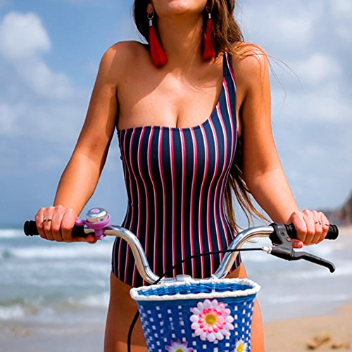 Makefortune 2019 Damen Badeanzug, Frauen Bikini Seitlich Gebunden Bikini-Sets Streifen Bademode Damen Mädchen Kostüm gepolstert Volltonfarbe Monokini Bademode Bikini Suit Set Plus Size