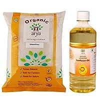Arya Farm Certified Organic Wheat Flour 1 Kg Natural Sunflower Oil 500 ml -Combo Offer