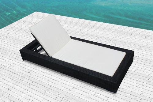 Mon Usine 7520-dj Le Pereza Bain de Soleil en résine tressée Noir 197 x 86 x 23 cm