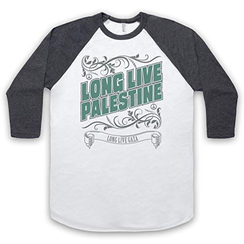 Long Live Palestine Long Live Gaza 3/4 Hulse Retro Baseball T-Shirt Weis & Dunkelgrau