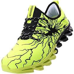 BLOOMNEXT Zapatos Para Correr EN Montaña y Asfalto Aire Libre y Deportes Zapatillas de Running Padel Para Hombre Verde Negro 42