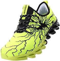Idea Regalo - BRONAX Scarpe da Corsa Uomo Scarpa da Ginnastica per Multi Sport Fitness Atletico Jogging all'aperto Sneaker Nero Verde 42