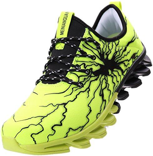 BRONAX Herren Sportschuhe Schnürschuhe Atmungsaktiv Moderne Freizeit Sneaker Schuhe Outdoor Laufschuhe Low-Top Bequeme Turnschuhe Gymnastikschuhe Männer Jungen Grün Schwarz 43 EU (44 Asien)