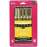 Pigma Micron Pen Set assortiti taglie 6/Pkg-nero