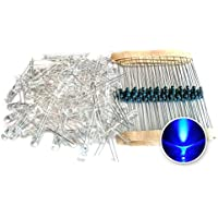 Tenflyer Resistencia de 5 mm de luz LED azul Diodo + eléctrico 100PCS en 1 Set