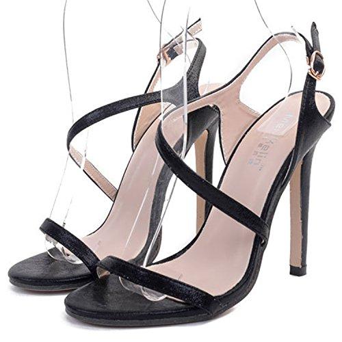 Oasap Women's Strap Open Toe High Heels Slingback Sandals Black