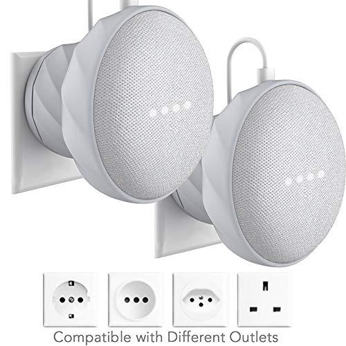 KIWI Design Outlet Halterung Wandhalterung Kompatibel mit Google Home Mini, Hellgrau, 2er Pack