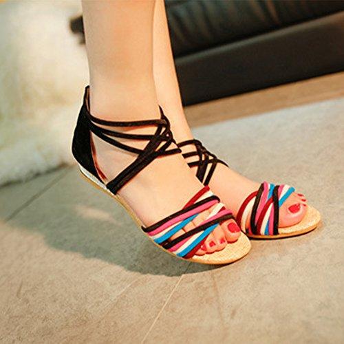 Minetom Femme Fille Été Plage Plat Chaussures Boho Style Sandales Talon Compensé Peep Toe Loisir Gladiateur Sandales Noir 01