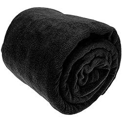 A-Express Grande Suave Caliente Franela Manta Polar la Cama sofá Coche Viaje Mantas - Negro 125cm x 150cm