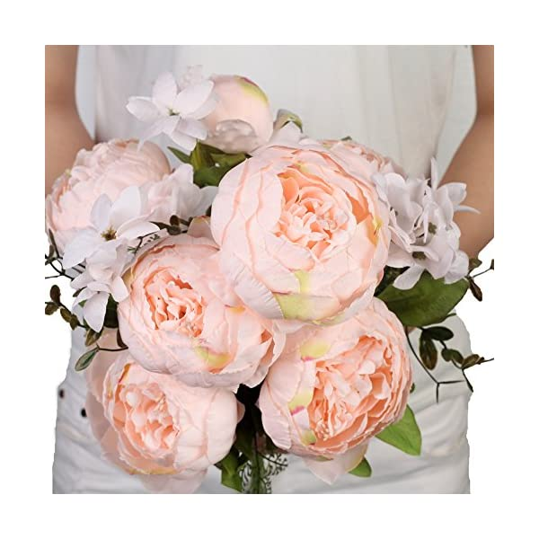 Houda – Ramo de flores de peonia artificiales vintage para decoración de hogar y bodas