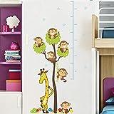 Höhe Aufkleber lustige gelbe Giraffe Affe Baum Dekor Kind Höhe Messung Wandaufkleber Kleiderschrank diy Abziehbilder
