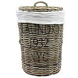 Wäschebox Wäschetruhe Wäschekorb Wäschesortierer Wäschekiste Wäschesammler Wäschetonne Truhe Kiste Aufbewahrungsbox 40x60cm mit Deckel in Rattan