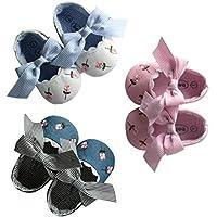 FENICAL Zapatos de bebé Zapatos de Princesa de Flores Bordados para niños pequeños Chicas Grandes de Arco Suela Blanda - Tamaño 12 cm